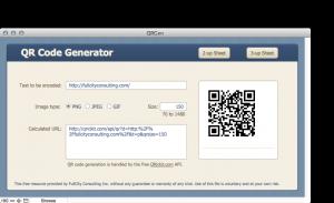 Screen shot of the QR Code Generator
