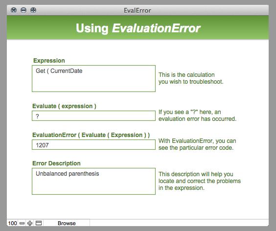 screenshot of evaluation error sample database